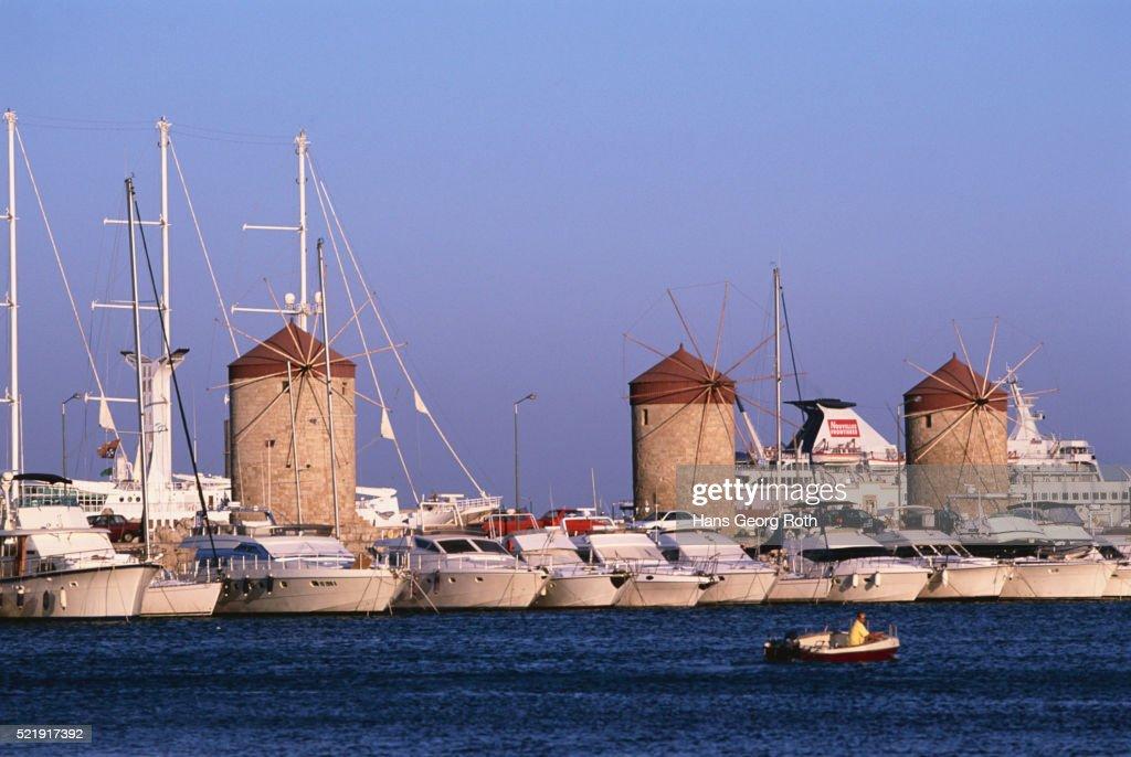 Boats and Windmills at Rhodes Harbor