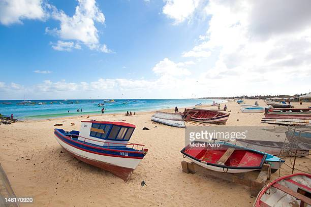 Boats are docked on the beach at Santa Maria on May 15 2012 in Sal Rei Cape Verde Favorable exchange rates in the Cape Verde Islands have recently...