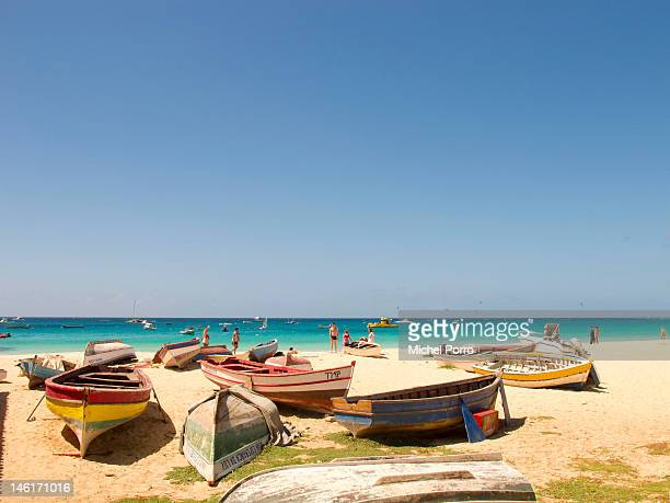 Boats are left on the beach at Santa Maria on May 15 2012 in Sal Rei Cape Verde Favorable exchange rates in the Cape Verde Islands have recently...