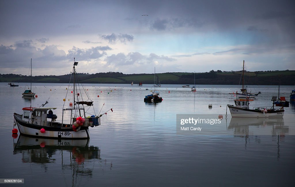 Boats are moored closed to the Fal Fishery on the River Fal, near Falmouth on February 9, 2016 in Cornwall, England. Since the end of 2015, oyster fishermen such as Chris Ranger who runs Fal Oysters Ltd, has been able to claim European Union protected designation of origin (PDO) status to the oysters he gathers in the River Fal. The protection, which has already been awarded to producers of the Cornish Pasty, Stilton cheese, Shetland lamb and Jersey royal potatoes, is given to cover foodstuff that is produced, processed and prepared in a given geographical area using recognised know-how. The Fal Fishey is said to be the last oyster fishery in Europe that still harvests under sail meaning that the Fal Oysters, that have a distinctive taste and are characterised by their round or uneven round shells with light brown or bluish concentric bands on their outer surfaces, have been collected in more of less the same way for more than 500 years.
