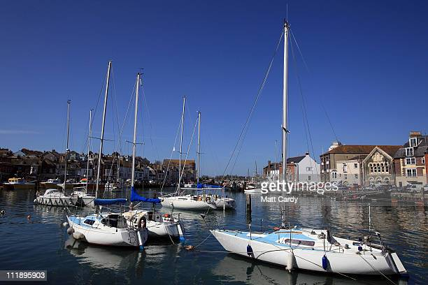 Boats are moored in the harbour at Weymouth on April 8 2011 in Weymouth England Weymouth Bay and Portland Harbour is gearing up to be the venue for...