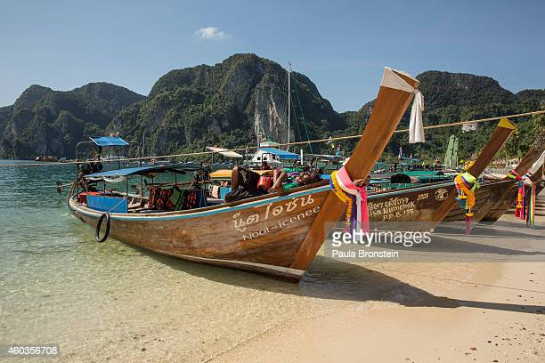 Boats are parked at the shore prior to the ten year anniversary of the 2004 earthquake and tsunami on December 12 2014 in Phi Phi Village Ton Sai Bay...