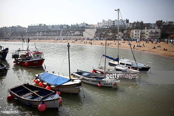 Boats are pictured moored off Broadstairs beach on April 8 2015 in Broadstairs England Pleasant weather continued on the south coast with...