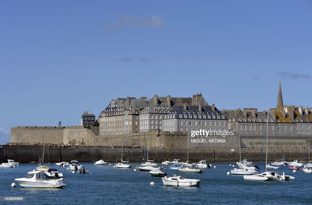 Boats are seen near the walled city of SaintMalo Brittany on August 18 2014 AFP PHOTO / MIGUEL MEDINA