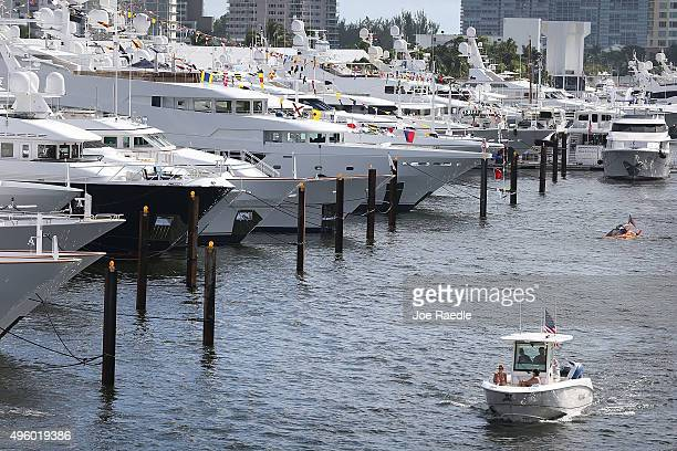 Boats are seen on display at the 56th Fort Lauderdale International Boat Show on November 6 2015 in Fort Lauderdale Florida The boat show which runs...