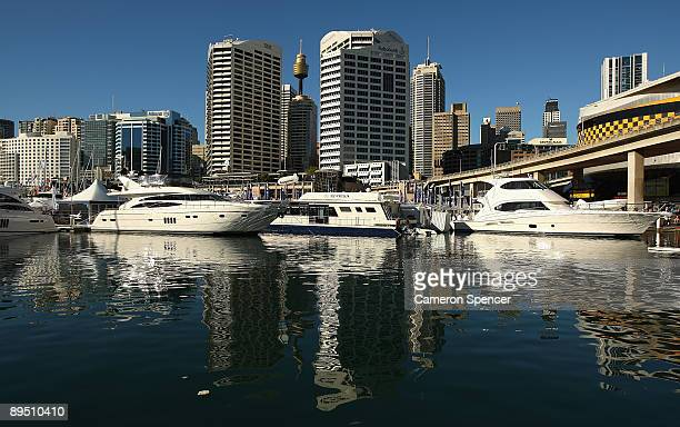 Boats are seen on display at the Sydney International Boat Show at Darling Harbour on July 30 2009 in Sydney Australia A wharf with 190 vessels...