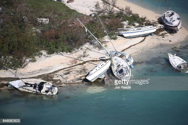 Boats are seen washed ashore from Hurricane Irma after it passed through the area on September 13 2017 in Key West Florida The Florida Key's took the...