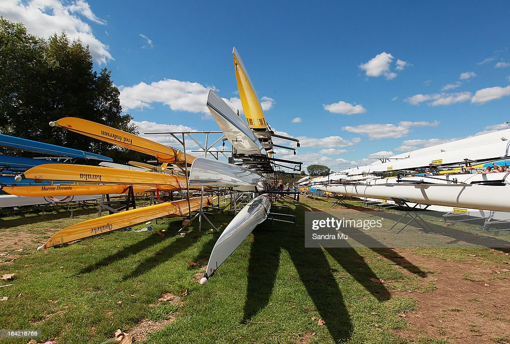 Boats are stacked in the boat park during day four of the Maadi Cup at Lake Karapiro on March 21, 2013 in Cambridge, New Zealand.