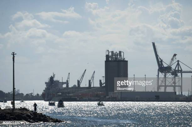 Boats arrive at Port Canaveral in Cape Canaveral Florida US on Wednesday July 5 2017 The US Census Bureau released trade balance of goods and...