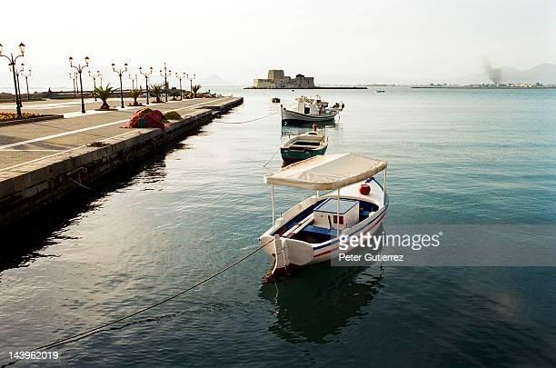 Boats at Greek Peloponnesian seaport Nafplion