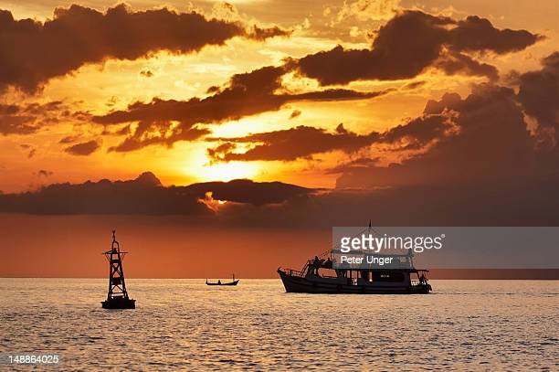 Boats at sunset off Long Beach.