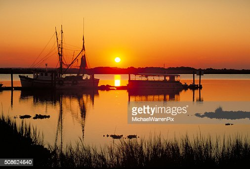 Boats at Sunset : Stock Photo