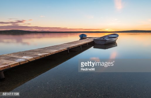 boats at the pier on the lake : Stock Photo