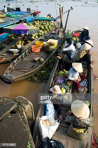 Boats Bring Passengers To Vinh Long Market In Vietnam