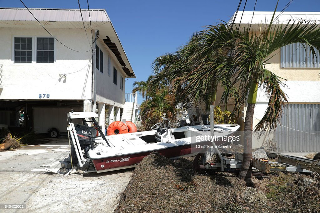 Boats, cars and other debris are scattered around two days after Hurricane Irma slammed into the state September 12, 2017 in Marathon, Florida. The Federal Emergency Managment Agency has reported that 25-percent of all homes in the Florida Keys were destroyed and 65-percent sustained major damage when they took a direct hit from Hurricane Irma.