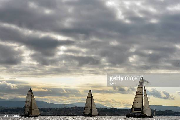 Boats compete during the Barcolana Regatta in Trieste on October 14 2012 More than 1700 boats take part in the 44th Barcolana AFP PHOTO / GIUSEPPE...