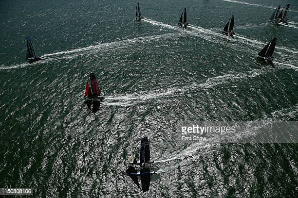 Boats compete in the final match race of the America's Cup World Series on August 26 2012 in San Francisco California