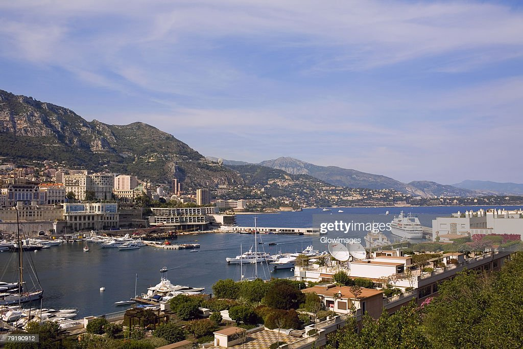 Boats docked at a harbor, Port of Fontvieille, Monte Carlo, Monaco : Foto de stock