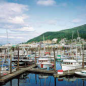 Boats docked at a harbor, Thomas Basin, Ketchikan, Alaska, USA