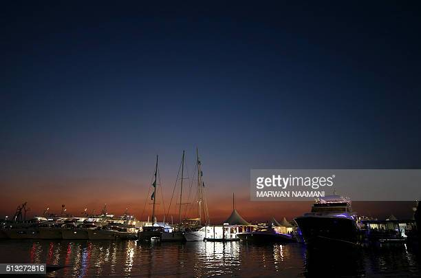 Boats docked at the Dubai International Marine Club during the Gulf emirate's international Boat Show on March 01 2106 More than 400 of the finest...