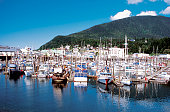 Boats docked at Thomas Basin Harbor, Ketchikan, Alaska, USA