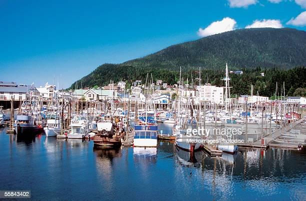 Boats docked at Thomas Basin Harbor, Ketchikan, Alaska, USA