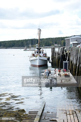 boats docked in Port Clyde, Maine : Stock Photo