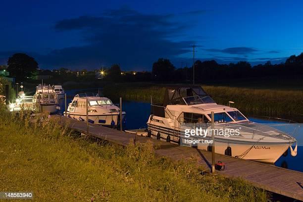 Boats docked on River Erne.