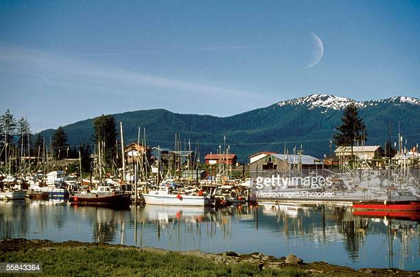 Boats docket at Wrangell Harbor, Alaska, USA
