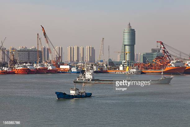 Boats floating in the port of Tianjin in China