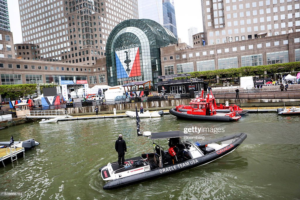 Boats for teams sit docked during practice ahead of the Louis Vuitton America's Cup World Series races in New York, U.S., on Friday, May 6, 2016. The America's Cup sailing races are held in New York City on the Hudson River for the first time since 1920. Photographer: Chris Goodney/Bloomberg via Getty Images
