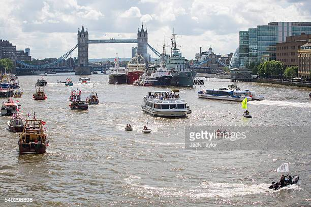 Boats from the 'Fishing for Leave' campaign group and boats from the 'In' campaign join a flotilla along the Thames River on June 15 2016 in London...