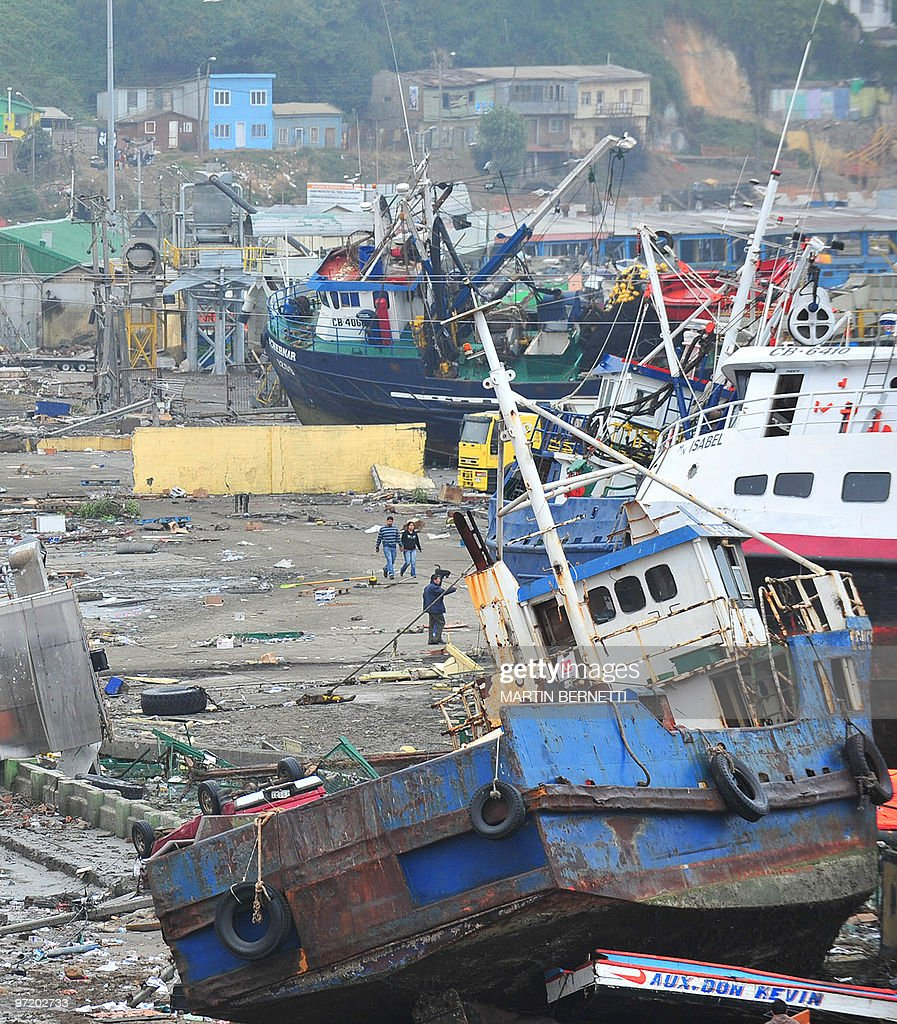 Boats hurled aground by the tsunami in downtown Talcahuano Chile March 1 2010 Chile's earthquake toll soared past 700 on Sunday as rescuers raced to...