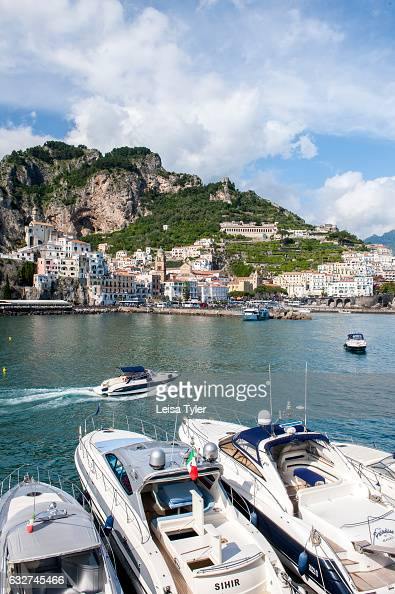 Boats in Amalfi harbour the idyllic village on the Amalfi Coast is a popular tourist spot