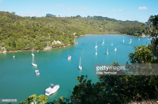 Boats in Back Bay, Whitianga Rock Scenic and Historical Reserve.