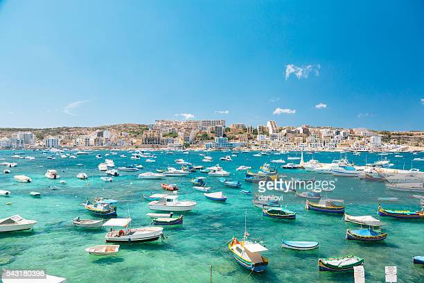 Boats in Bugibba bay, Malta