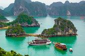 Boats in Ha Long Bay, Quang Ninh, Vietnam