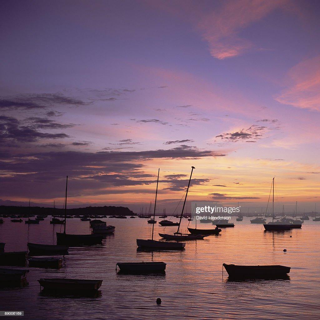 Boats in harbor at sunset, Sandbanks, Poole Harbour, Dorset, England