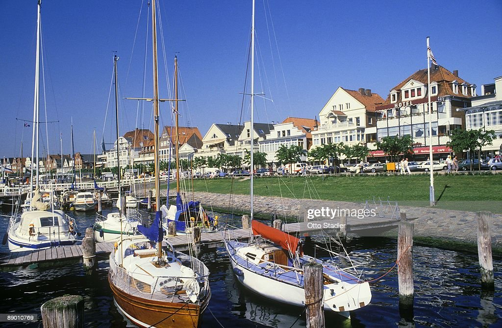 Boats in harbor in Lubeck, Germany