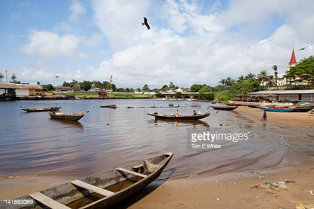 Boats in Harbour Kribi, Cameroon, Africa