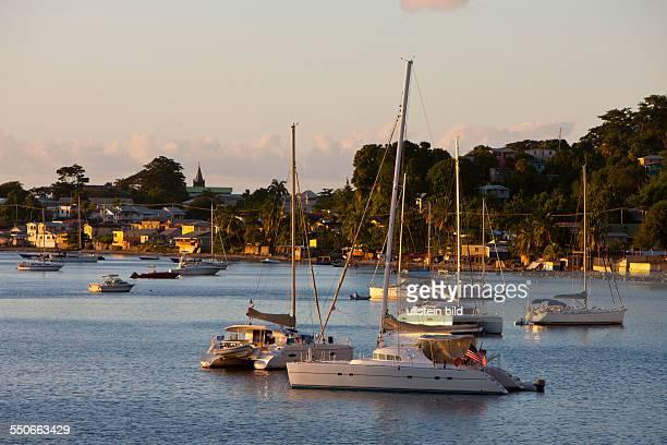 Boats in Harbour of Roseau Caribbean Sea Dominica