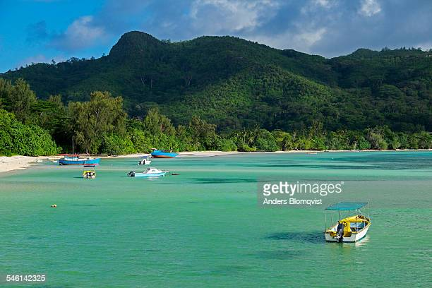 Boats in lagoon by Anse La Mouche beach