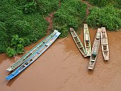 Boats in Mekong River near Muang Sing