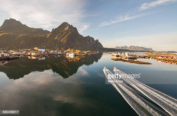 Boats in midnight sun in Lofoten