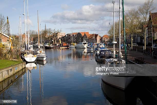 Boats in old harbor Enkhuizen Netherlands