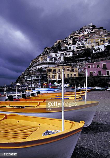 Boats in Positano after the storm.