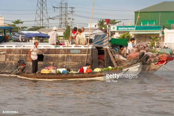 Boats in the floating market Cai Rang near Can Tho Mekong River Delta Vietnam