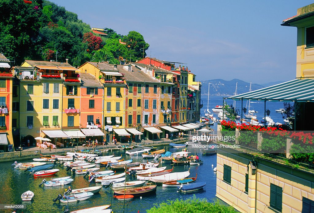 Boats in the harbor at the small town of Portofino, Italy
