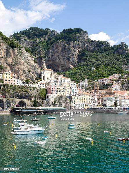Boats in the harbour at Amalfi an idyllic tourist village on the Amalfi Coast Italy