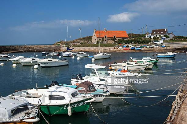 Boats in the little port at Cap Levi Fermanville Lower Normandy France
